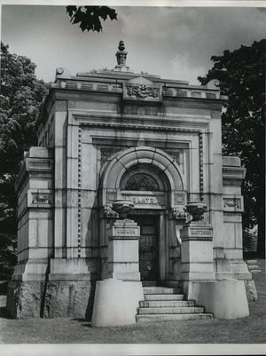 The Blatz Mausoleum is shown at Forest Home Cemetery in 1972. The museum offers historic tours.