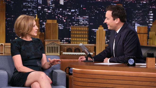 Politician Carly Fiorina during an interview with host Jimmy Fallon on September 21, 2015.