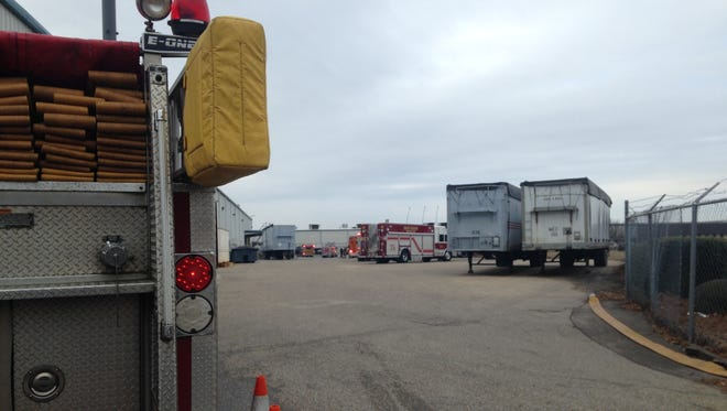 Firefighters on the scene at Gunter Industrial Park.