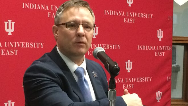 Sen. Jeff Raatz speaks during Friday morning's legislative forum at Indiana University East.