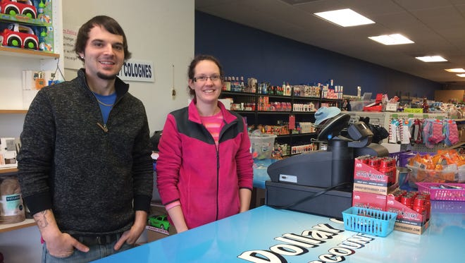 Aaron Dennison and Meghan Anderson both work at A Dollar or Two Discount Store on South Main Street in Fond du Lac.