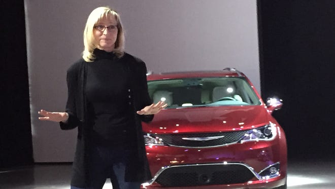 Jessica LaFond, chief engineer of minivans, provides an overview of the engineering characteristrics of the 2017 Chrysler Pacifica Minivan on March 10, 2016.