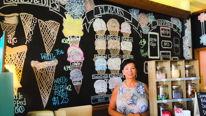 Bonnie Waldron opened Town Square Creamery and Country Market in 2015. The shop offers handmade ice creams and a variety of local products.