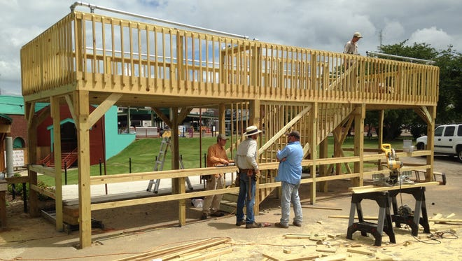 A new food court for sponsors nears completion at the Amphitheater at the Market