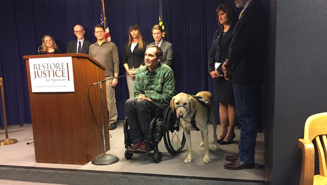 Max Woodbury speaks in support of a proposed bill that would remove the cap on non-economic damages following serious injury, neglect or trauma.