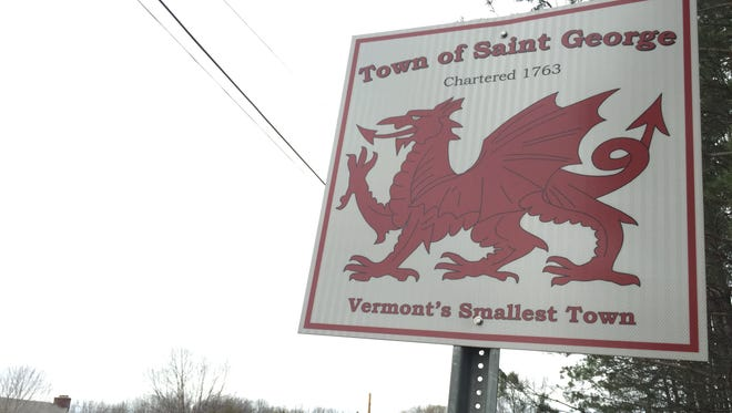 The sign welcoming people to St. George is seen on Town Meeting Day, Tuesday, March 7, 2017.