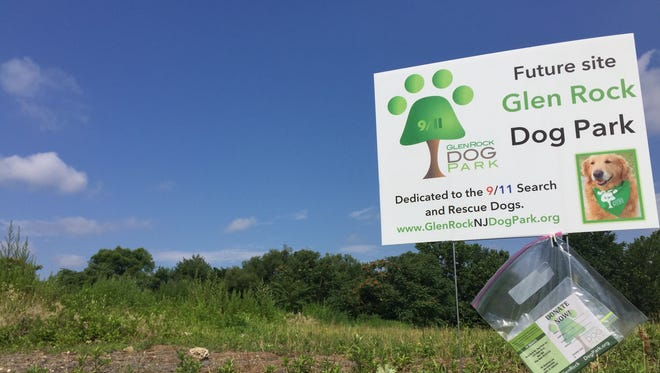 A sign shows the vacant lot near Faber Fields in Glen Rock where the Borough Council has approved the construction of a dog park.