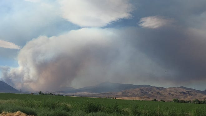 The Long Valley Fire is seen from the east side of Pyramid Highway on Saturday July 15 about 5:15 p.m.