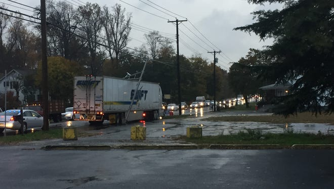 A tractor-trailer snapped a traffic light standard at Main Road and Sherman Avenue on Nov. 7.