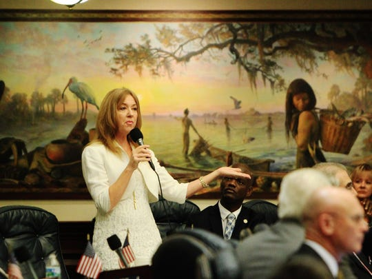 "Rep. Kristin Jacobs, D-Broward, speaks on the floor of the Florida House of Representatives during the recent special session. Behind her is the mural, ""In Ages Past,"" one of eight murals that depict state history."