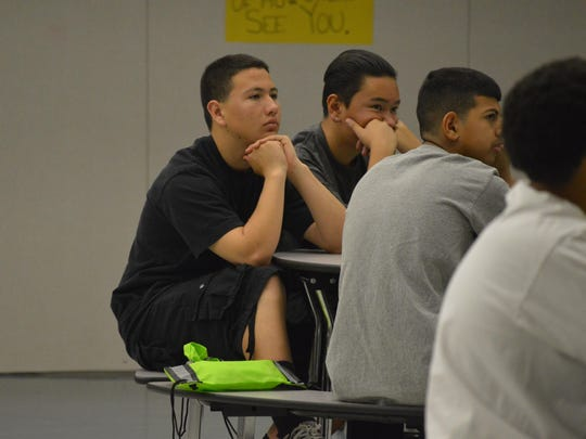 Tulare eighth-graders listen former McFarland running coach Jim White speak Saturday during the Leadership Teen Conference. The conference was made possible with the help of Tulare Sunrise Rotary.