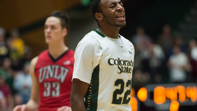 CSU guard J.D. Paige celebrates after a play against UNLV at Moby Arena Wednesday, January 6, 2016.