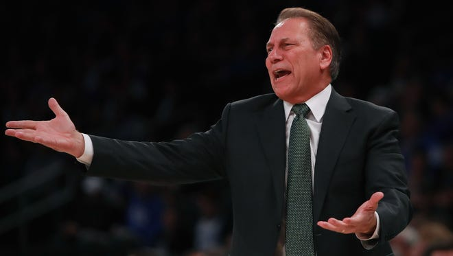 Michigan State coach Tom Izzo reacts in the first half of MSU's 69-48 loss to Kentucky Tuesday in New York.