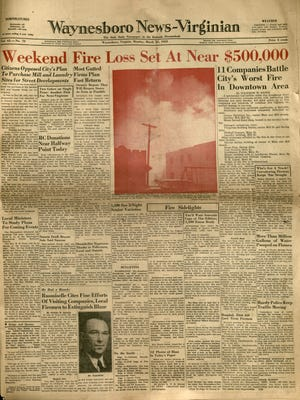 March 23, 1953 News-Virginian front page. This was the first time the paper printed two colors on a single page.