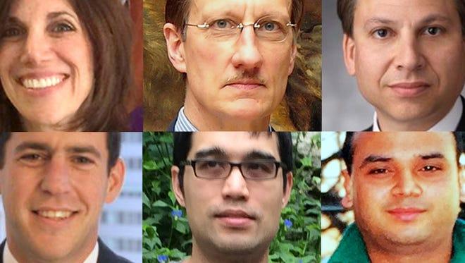 From top left, Ellen Brody, Walter Liedtke, Eric Vandercar, Joseph Nadol, Robert Brinks and Aditya Tomar.