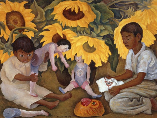 """Sunflowers"" (1943), by Diego Rivera, is featured in"