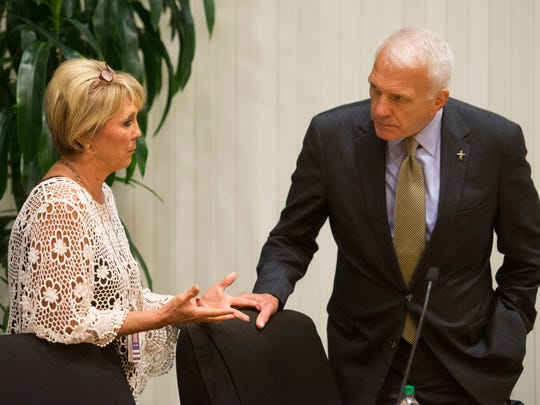 Knox County school board Chair Patti Bounds talks with Superintendent Bob Thomas after the board's workshop meeting on Monday, September 11, 2017. The  school board discussed and heard public comments regarding a proposal changing the school system's harassment policy language.
