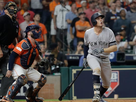 New York Yankees' Greg Bird hits a home run during