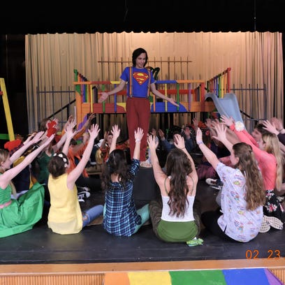 """Pacelli High School students rehearse for their upcoming performance of the musical """"Godspell."""""""