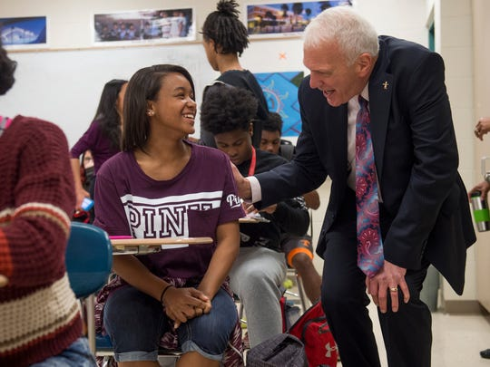New Knox County Schools superintendent Bob Thomas, right, talks with Austin-East Magnet High School students during a tour of the school on Friday, April 7, 2017.