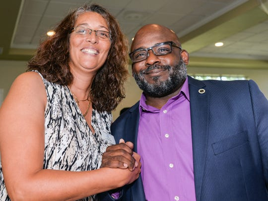 Director of Prevention Services Linda Soto with Boys and Girls Clubs of St. Lucie County Executive Director Will Armstead at the employee appreciation luncheon.