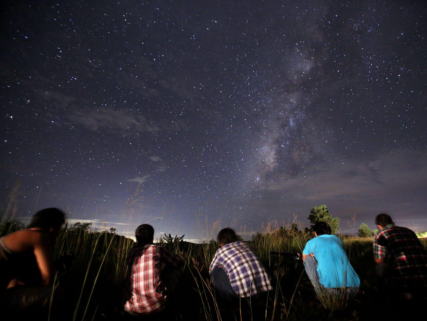 People watch for meteors in Rangoon, Burma.