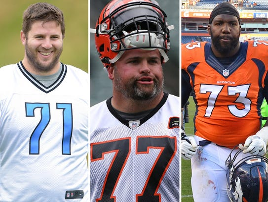 From left: Riley Reiff, Andrew Whitworth and Russell