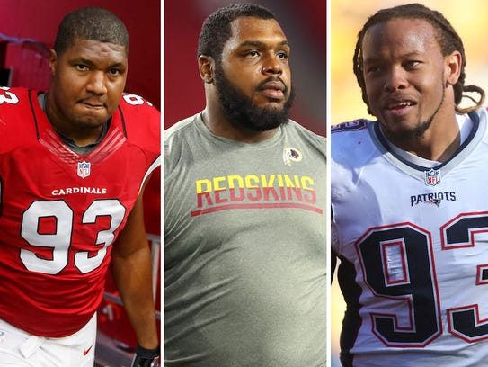 From left: Calais Campbell, Chris Baker and Jabaal