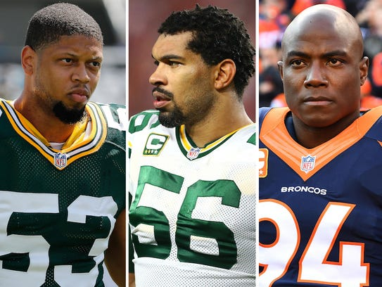 From left: Nick Perry, Julius Peppers and DeMarcus