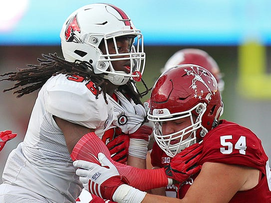 Ball State defensive end Anthony Winbush (98) went