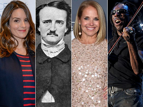 L to R: Tina Fey, Edgar Allan Poe, Katie Couric and