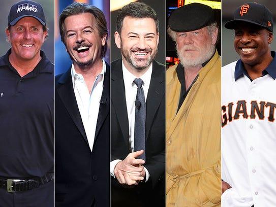 L to R: Phil Mickelson, David Spade, Jimmy Kimmel,