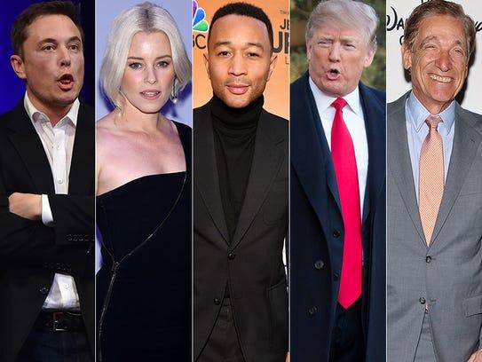 L to R: Elon Musk, Elizabeth Banks, John Legend, Donald