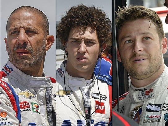 Tony Kanaan, Matheus Leist, Marco Andretti. Row 4 for