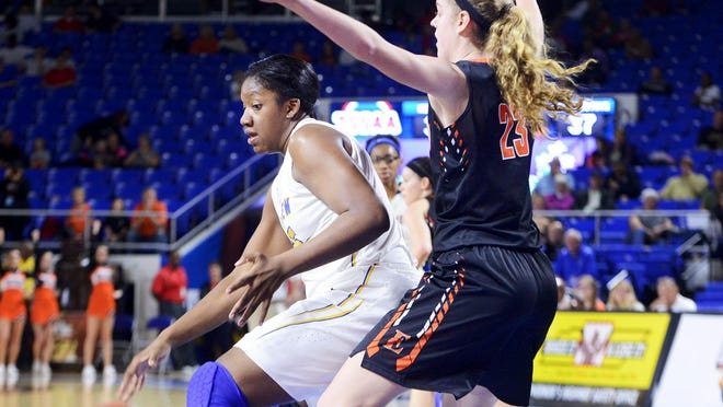 Westview's Deja Graves is defended by Elizabethton's Emily Schubert during their Class AA quarterfinal game, Thursday