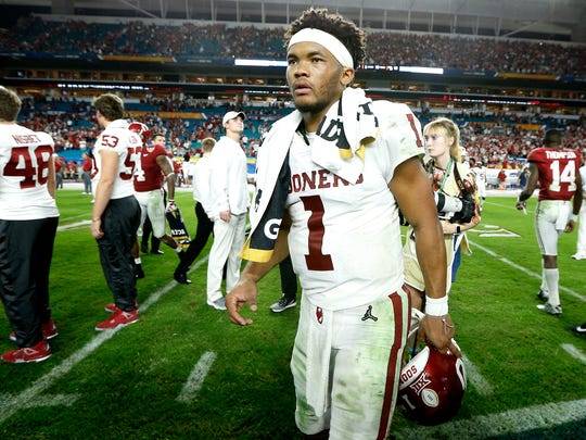 Kyler Murray reacts after losing to Alabama in the CFP semifinal.