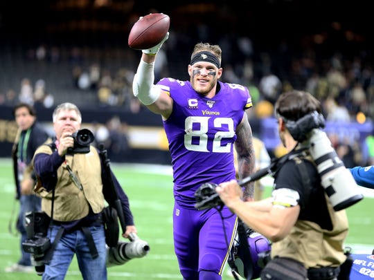 Jan 5, 2020; New Orleans, Louisiana, USA; Minnesota Vikings tight end Kyle Rudolph (82) celebrates after defeating the New Orleans Saints in overtime of a NFC Wild Card playoff football game at the Mercedes-Benz Superdome. Mandatory Credit: Chuck Cook -USA TODAY Sports