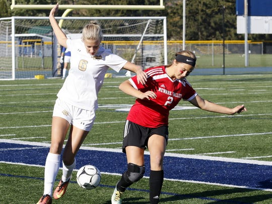 Courteney Crater, left of Elmira Notre Dame battles for the ball along with Newark Valley's Brianna Beebe in a Section 4 Class C girls soccer playoff game in 2017.