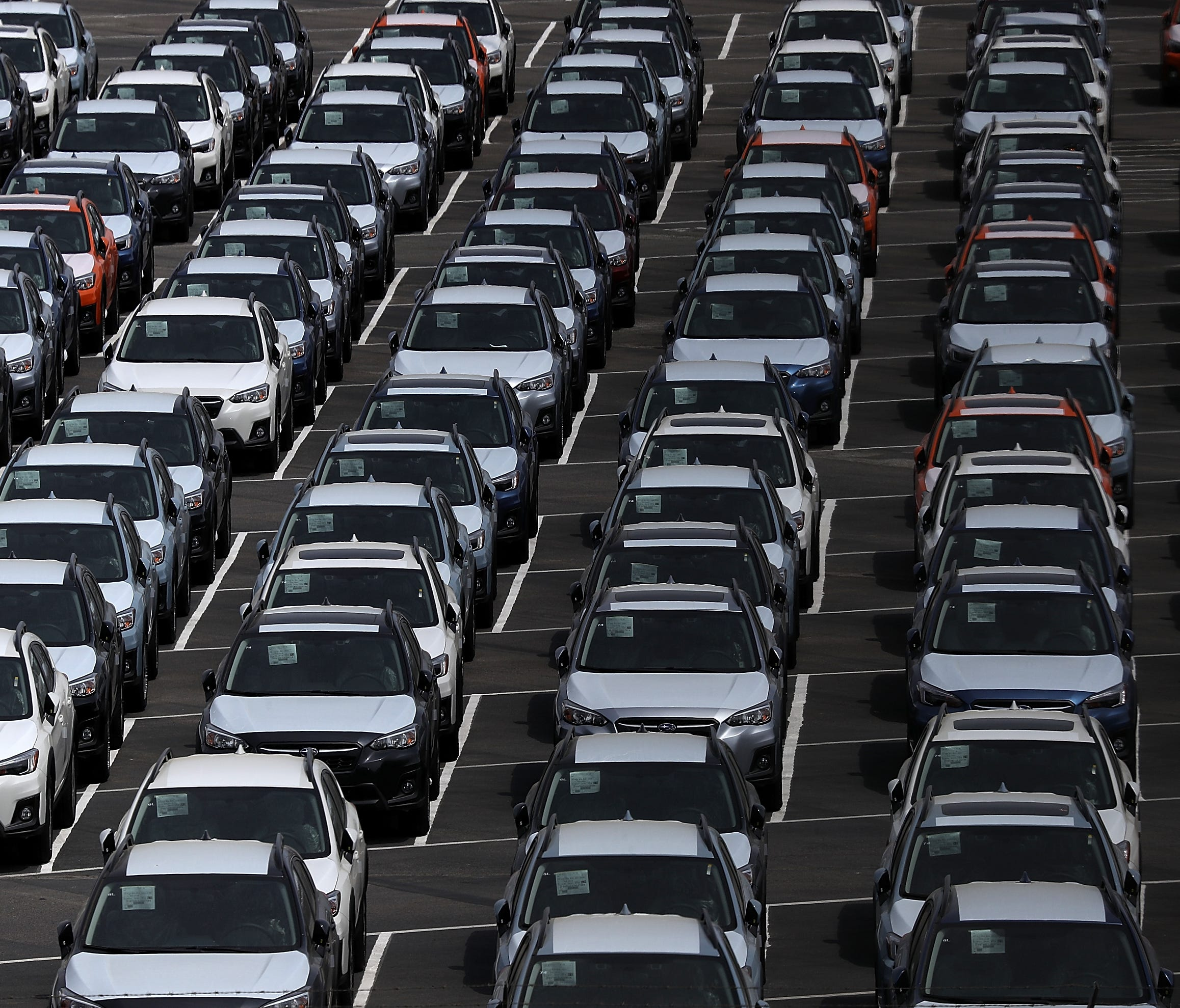 RICHMOND, CA - MAY 24:  Brand new cars sit in a lot at the Auto Warehousing Company near the Port of Richmond on May 24, 2018 in Richmond, California.  U.S. president Donald Trump is threatening to impose heavy tariffs on auto imports and has directe