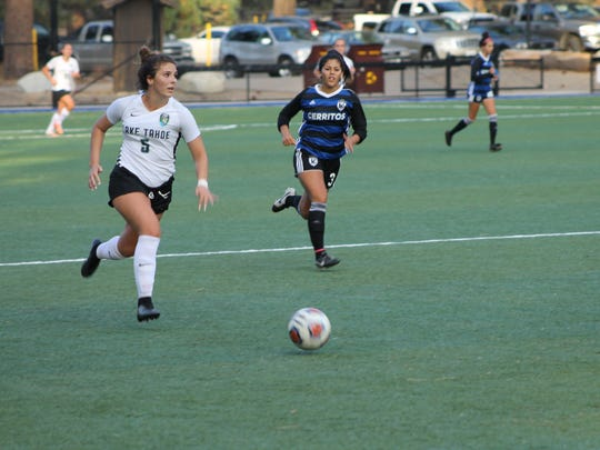 Douglas graduate Caitlyn Bidart plays on the Lake Tahoe CC women's soccer team.