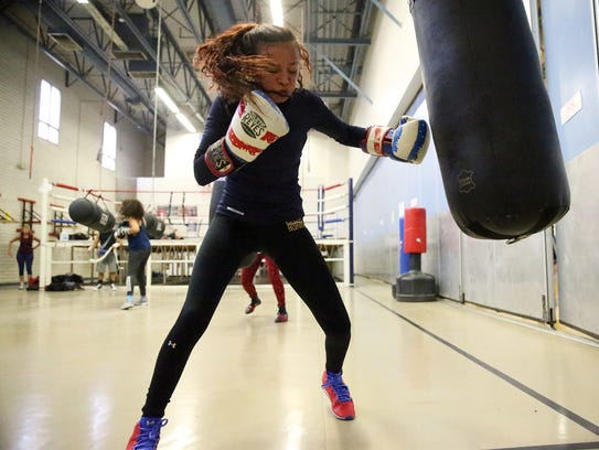 14-year-old boxer Kayla Gomez works out at Officer