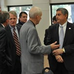 State Commissioner of Administration Jay Dardenne  speaks Thursday at the Central Louisiana Chamber of Commerce's February Strategic Luncheon.