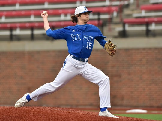 St. Xavier starting pitcher Nathan Kappers pitched