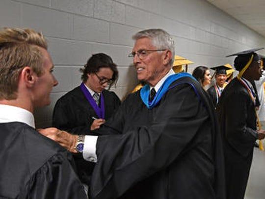 Mel Brown at Mt. Juliet High School's 2017 graduation.