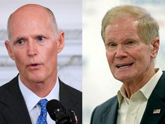 Florida GOP Gov. Rick Scott (left) is hoping to unseat three-term Democratic Sen Bill Nelson in November.