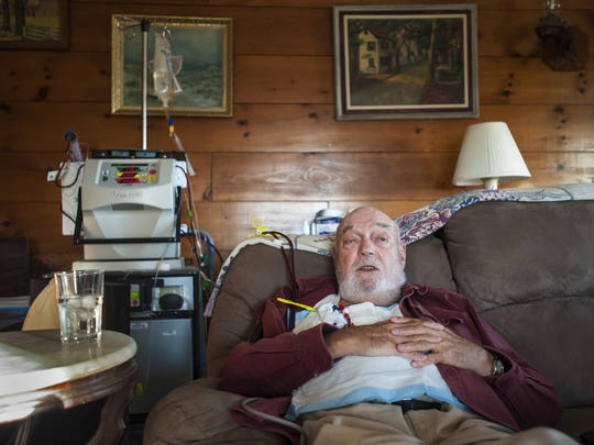 Con Hogan, a member of the Green Mountain Care Board, needs a kidney transplant.  He is hooked up to a dialysis machine at home in Plainfield on Wednesday, November 18, 2015.