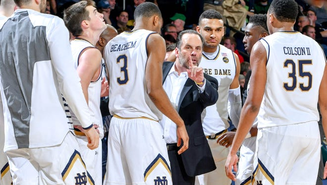 Jan 30, 2017; South Bend, IN, USA; Notre Dame Fighting Irish head coach Mike Brey talks to his players in the second half against the Duke Blue Devils at the Purcell Pavilion. Duke won 84-74. Mandatory Credit: Matt Cashore-USA TODAY Sports