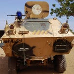 An armoured vehicle used by Boko Haram militants captured by the Nigerian military in Maiduguri, Borno State, on Jan. 27.