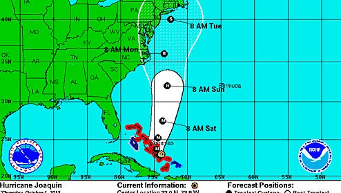 The National Weather Service's latest report on Hurricane Joaquin's track up the coast shows it will be closest to New Jersey on Tuesday morning.