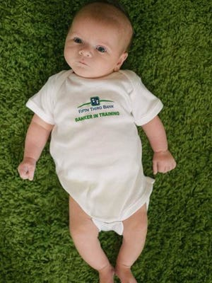 "Babies born on May 3 will receive a ""Banker in Training"" onesie from Fifth Third Bank."